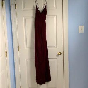 Burgundy low back maxi dress